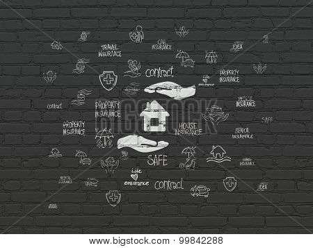Insurance concept: Home Insurance on wall background