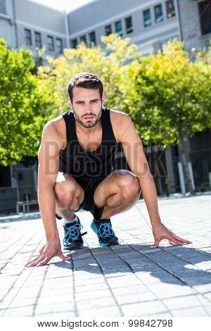 Portrait of an handsome athlete in a squatting stance on a sunny day