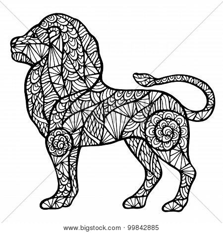 Stylized Lion Zentangle
