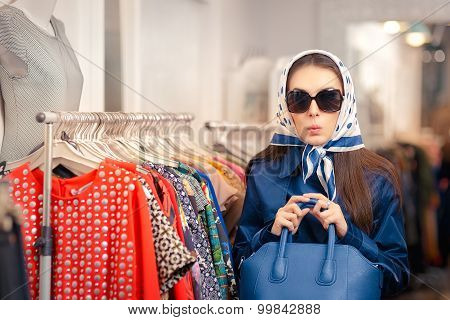 Curious Girl in Blue Trench Coat and Glasses Shopping