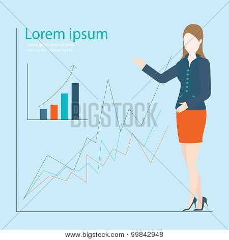 Business Woman Showing Graph Of Successful Finance Or Company Growth.