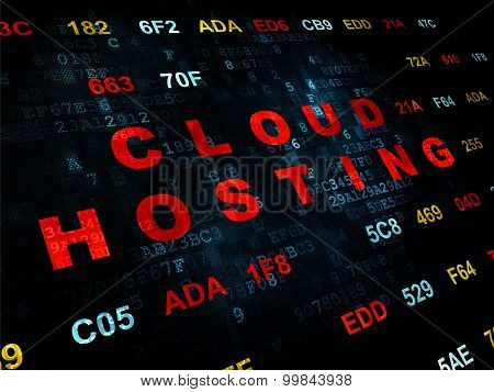 Cloud networking concept: Cloud Hosting on Digital background