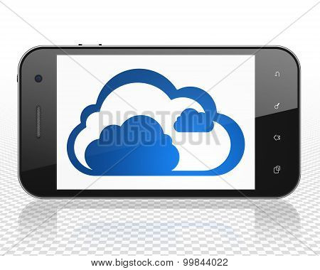 Cloud networking concept: Cloud on Smartphone display
