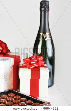 Chocolate In Box And Champagne