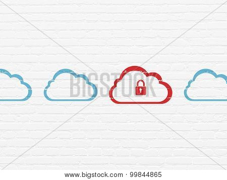 Cloud networking concept: cloud with padlock icon on wall background
