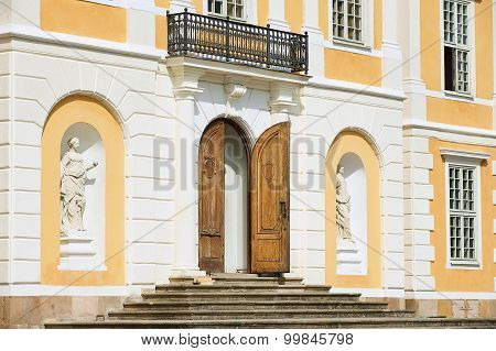 Exterior of the entrance to the baroque Steninge Palace outside of Stockholm, Sweden.