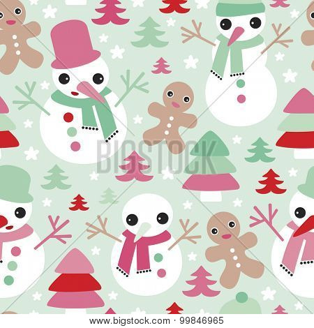 Seamless christmas gingerbread man and snowman christmas tree illustration holiday background pattern in vector