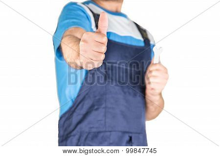 Worker Showing thumbs up