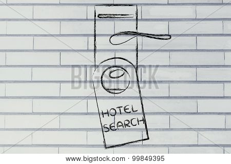 Searching For The Perfect Hotel, Funny Door Hanger Design