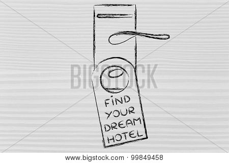 Find Your Dream Hotel, Funny Door Hanger Design