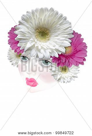 Diadem of colored flowers daisies