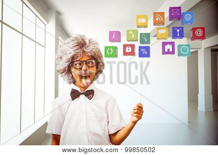 Pupil dressed up in wig against white room with screen