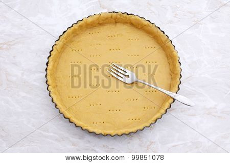 Fork Rests In A Pricked Pastry Pie Crust