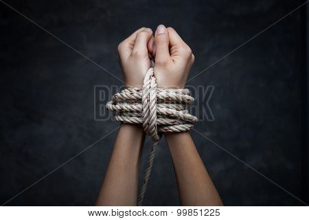 Hands Of A Missing Kidnapped, Abused, Hostage, Victim Woman