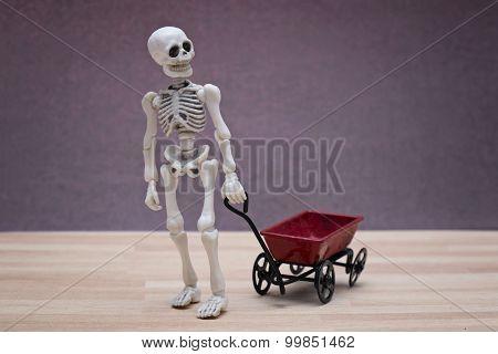 Skeleton and toy wagon