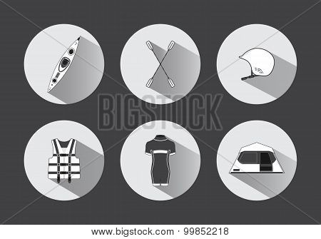 Flat Rafting Icons In Black And White With Long Shadows