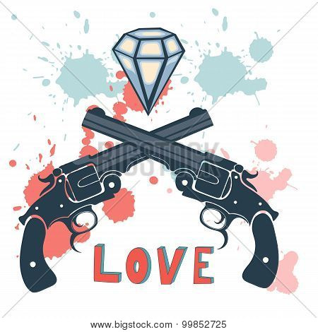 Classic revolvers and diamonds emblem