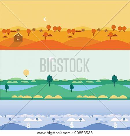 Background seamless landscapes autumn, summer, winter