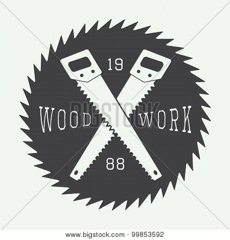 Vintage Sawmill Label, Emblem, Logo Or Badges