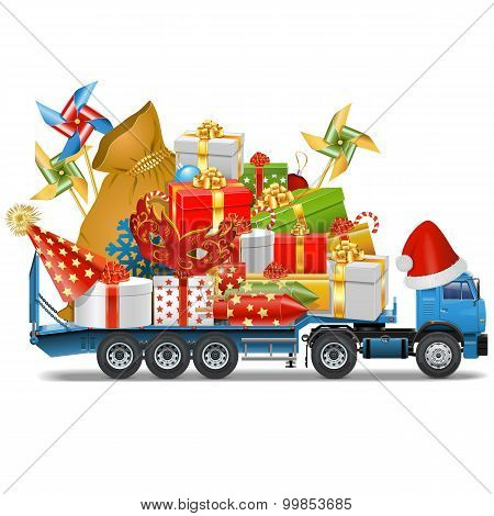 Vector Trailer With Christmas Gifts