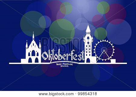 Vector Illustration Of Oktoberfest Card With Munich Landscape And Lettering
