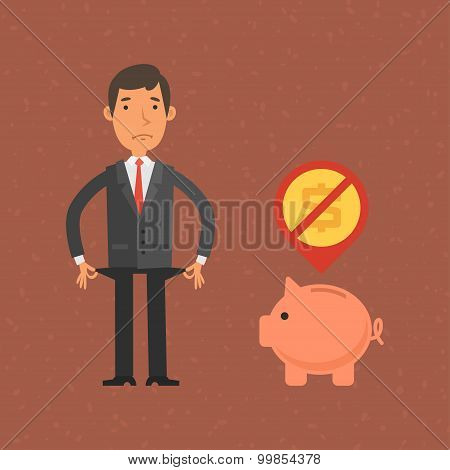 Businessman has no money