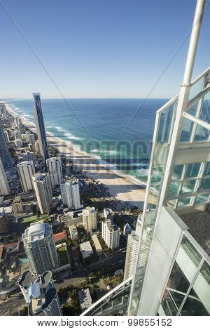 Surfers paradise as view from Q1 building Skypoint observation deck