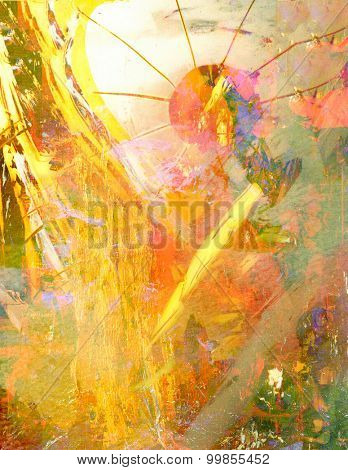Beautiful Abstract image of acrylic on Glass original painting