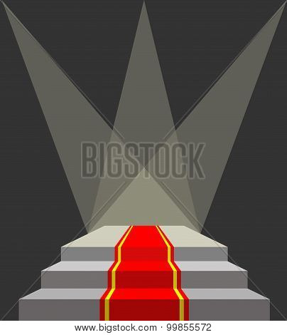 With A Red Carpet. Podium And Searchlights. Lighting Of The Pedestal. Vector Illustration Does Not C