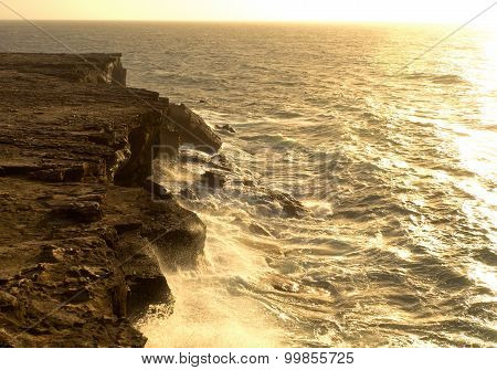 Sea Surf On The Rocks In Area  La Pared On Fuerteventura