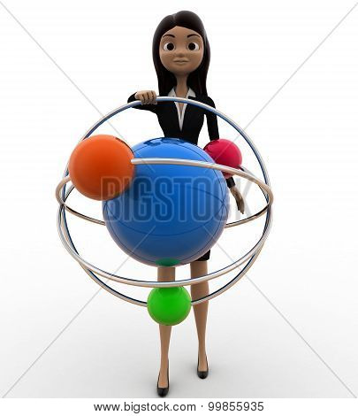 3D Woman With Model Of Atom Concept