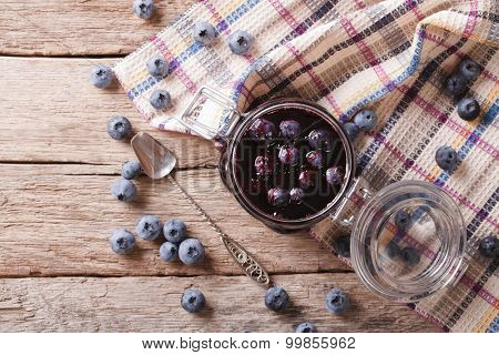 Fresh Blueberry Marmalade In A Glass Jar. Horizontal Top View