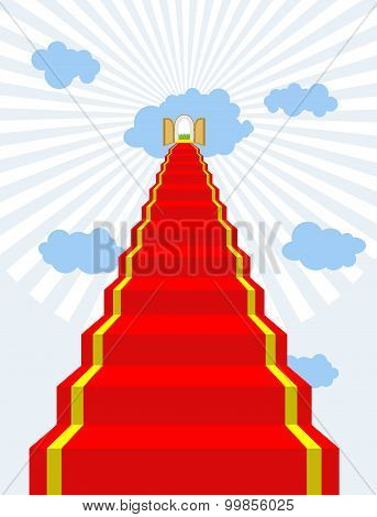 Stairway To Paradise. Red Carpet Into Sky. Gates Of Paradise. Doors In  Clouds. Vector Illustration
