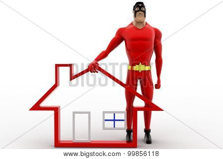 3D Superhero With Home Icon And Giving High Five Concept
