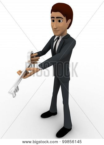 3D Man Holding Key In Hands Concept
