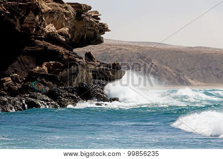 Sea Surf On The Rocks In Area  La Pared On Fuerteventura