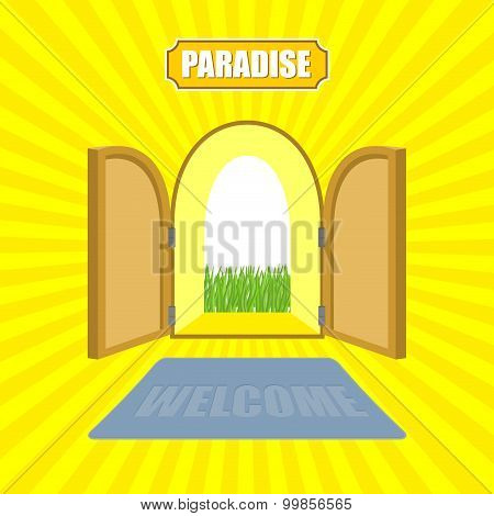 Welcome To Paradise. Open Gates Of Paradise Gardens. Mat In Front Of Door. Von Glow Solar.  Entrance