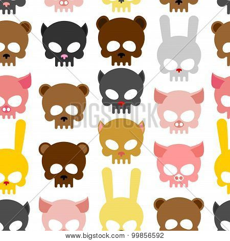 Skulls Animal Seamless Pattern. Background For Halloween. Snout Bear And A Pig. Skull Rabbit And Cat