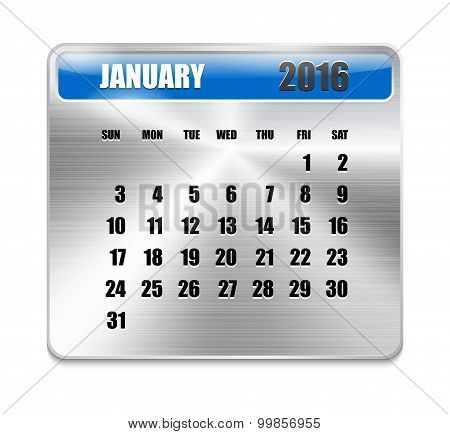 Monthly Calendar For January 2016 On Metallic Plate Color