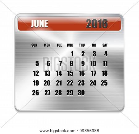 Monthly Calendar For June 2016 On Metallic Plate Color