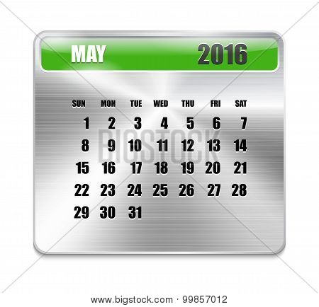 Monthly Calendar For May 2016 On Metallic Plate Color