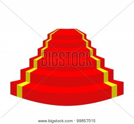 Red Carpet On A White Background. Stairs For Vip. Vector Illustration