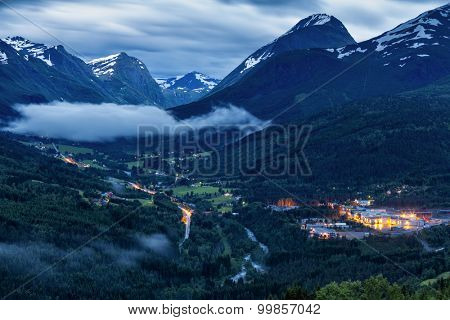 Night View On Norway Mountain Landscape