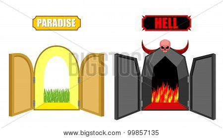 Gates Of Hell And Paradise. Entrance To Satan And God. Scary Black Door In Purgatory. Beautiful Brig