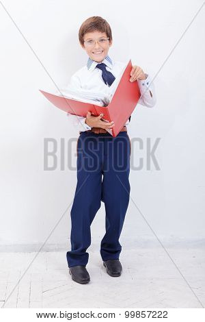 The boy with folders