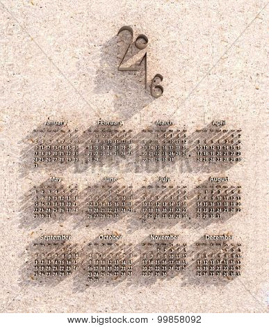 Calendar For 2016 Made From Cardboard And Paper