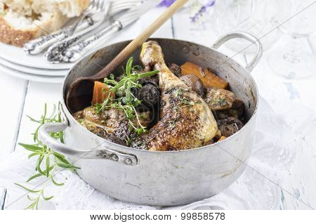 french chicken in red wine sauce - coq au vin