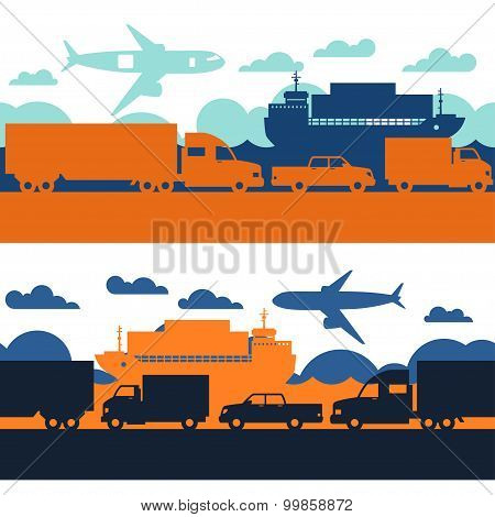 Freight cargo transport icons seamless patterns in flat design style