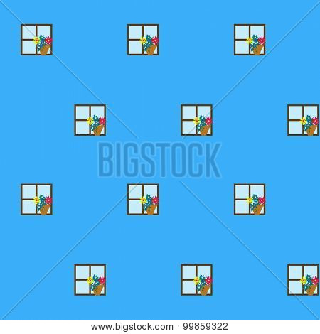 Windows with flower pots on a blue house wall - a cute background pattern for children
