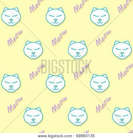 Content cartoon cat with his eyes closed, with word meow - a seamless background pattern
